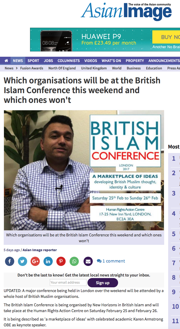 Which organisations will be at the British Islam Conference