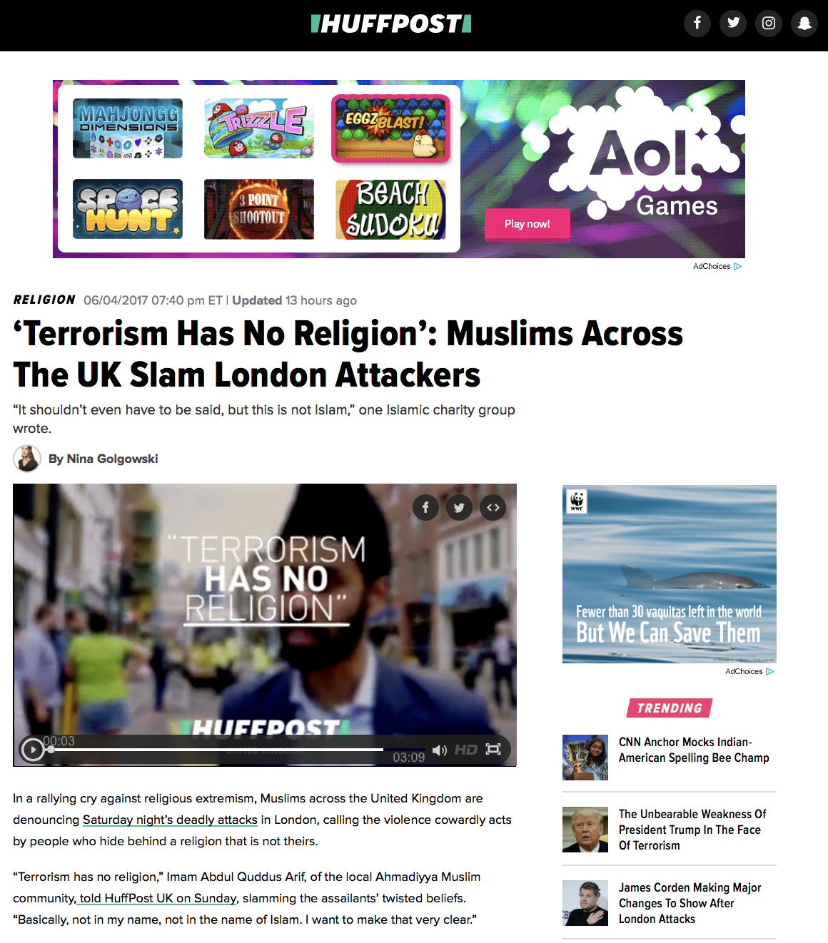 Huff Post: 'Terrorism Has No Religion'